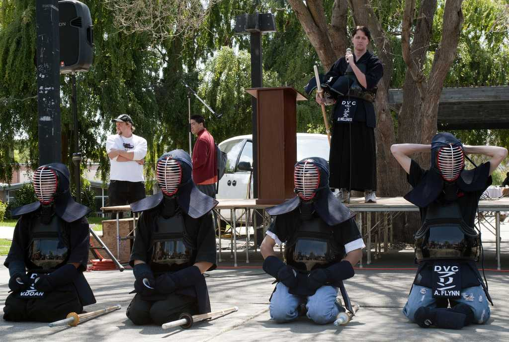 Kendo Club members demostrate fighting techniques during an ASDVC fair on April 14, 2011. (Stevie Chow / The Inquirer)
