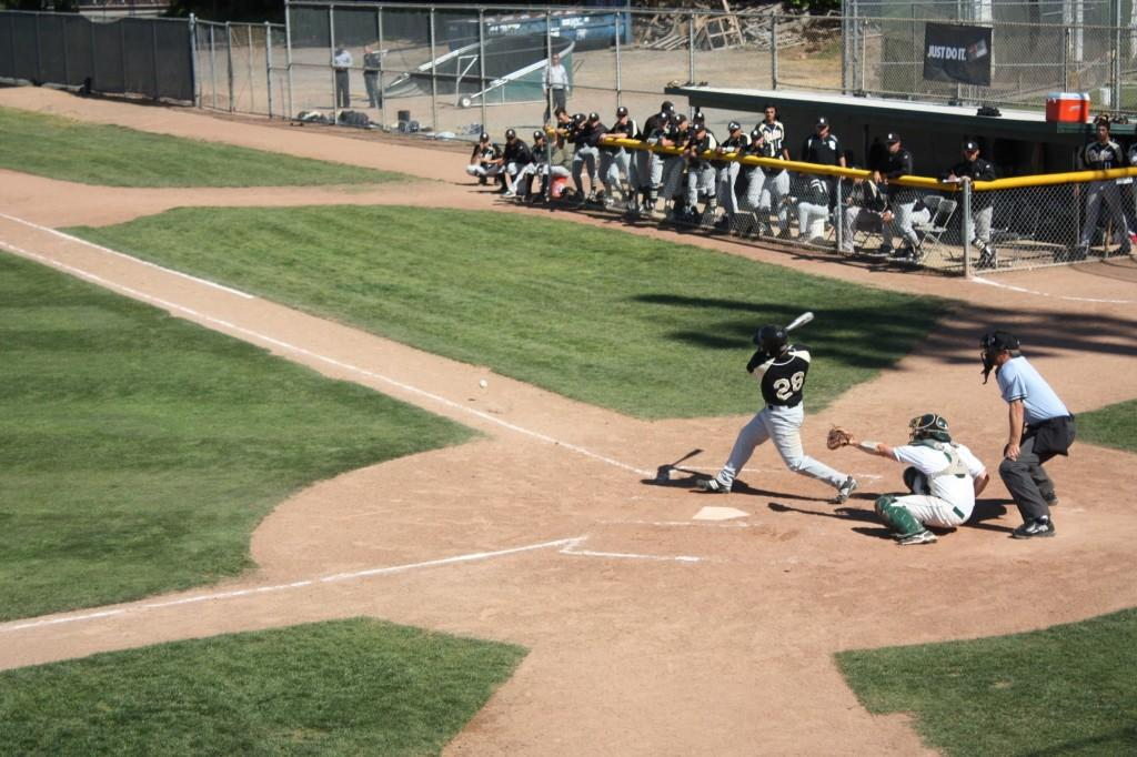 Delta third baseman Steven Patterson fouling a pitch off in the 4-1 win over the Vikings. (Julius Rea / The Inquirer)