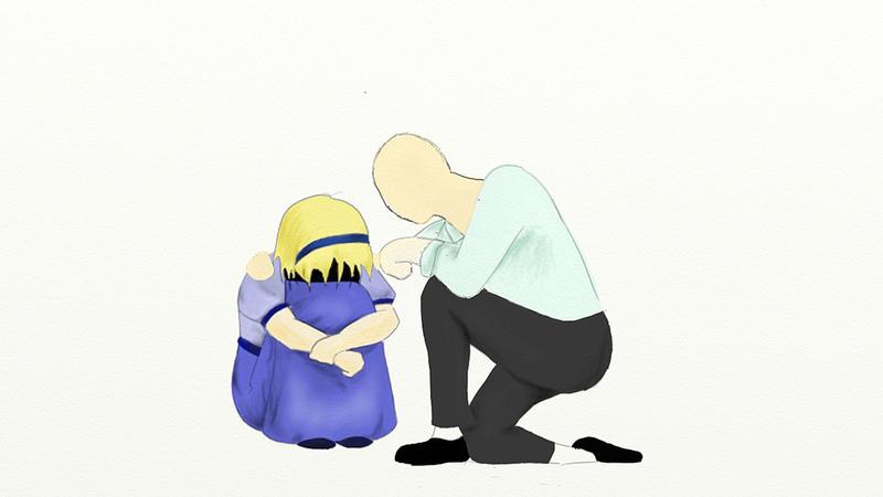 Teacher comforting student.