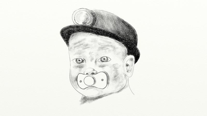 Baby in a miner's helmet