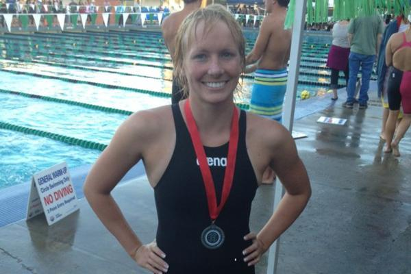 Lauren McCullough at a Big 8 conference final in 2013. She won second place and became an All-American swimmer.