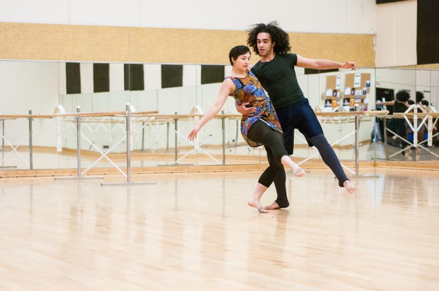 DVC+dance+students+Katarina+Klass+and+Khalil+Lamnaouar+practice+their+dance+routine+for+technical+director+Scott+Heiden%2C+in+%22Stories+Unraveled.%22