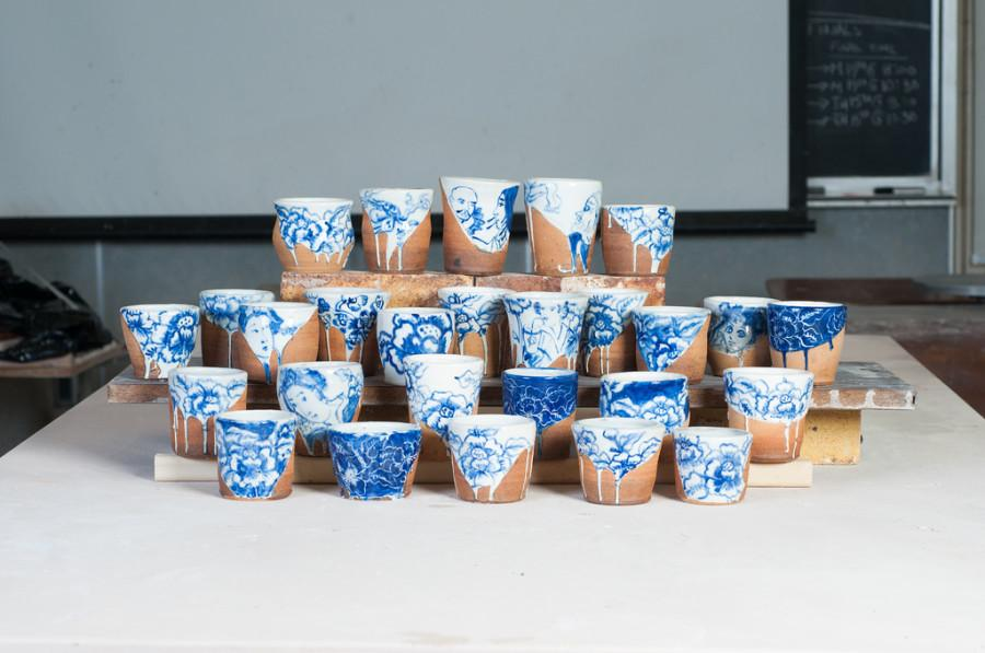 Set+of+handmade+cups+made+by+ceramics+students+which+were+given+out+to+the+first+0+people+who+attended+DVC%27s+showcase+at+the+California+conference+for+the+advancement+of+ceramic+art.+Photographed+on+Wednesday%2C+April+23%2C+prior+to+the+CCACA+conference+in+Davis%2C+Calif.