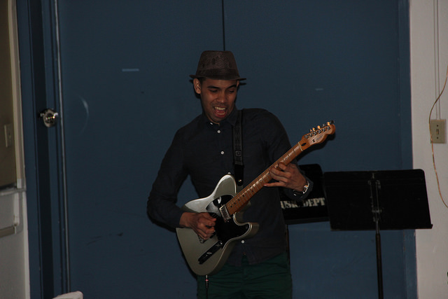 Jheynner Arhgote, lays down some sweet licks at the DVC Jazz combos concert in the Music Building.