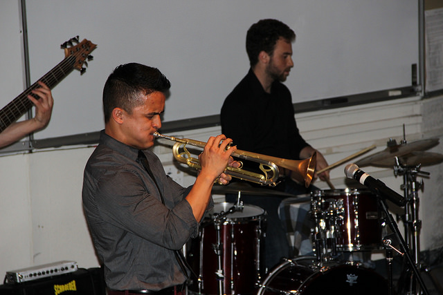 Martin Lejano and Lucas James  jam out at the DVC Jazz combo concert on March 10 in the DVC music building.