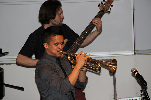 Trevor Murphy on the bass, and Martin Lejano on the trumpet find their groove at DVCs Jazz combos night.