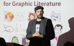 Adam Bessie speaks at the fifth annual James OKeefe Graphic Litererature contest awards on March 19, 2015