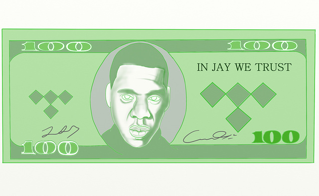 Jay-Z's face and the Tidal logo on a $100 bill