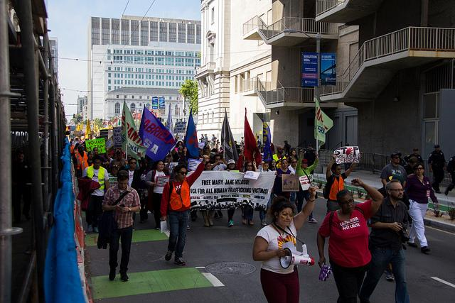 Protesters start their march towards Mission Street in San Francisco during the May Day protests held on May 1st 2015