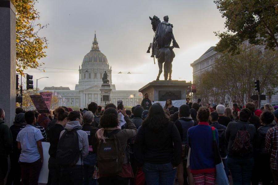 A crowd gathers for a rally to stop violence against transwomen of color held at the Civic Center Plaza on the 25th of August 2015