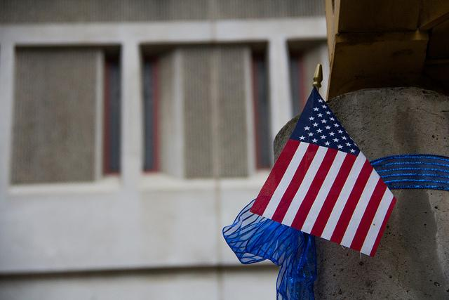 An American flag wrapped around a pillar at the Martinez Corrections Facility representing police lives matter on 14 September