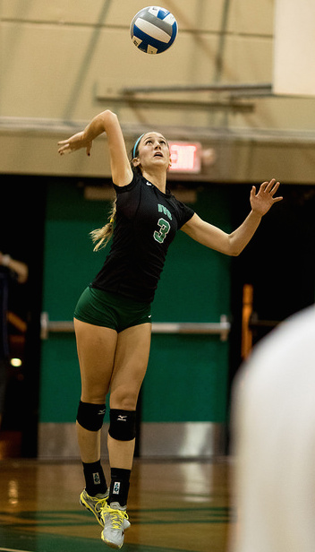 DVC outside hitter and right side hitter Noelle Vleisides (3) serves the ball in a match between DVC and CRC at DVC on Friday, Oct. 9, 2015. DVC beat CRC 3-0.