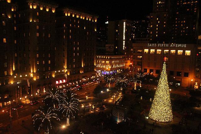 Festive christmas tree lighting at Union Square in San Francisco, Dec. 6