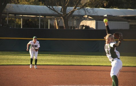 DVC starting pitcher Nicole Nordahl, #12, holds Ohlone to a 3-3 tie game on Tuesday, Feb. 2.