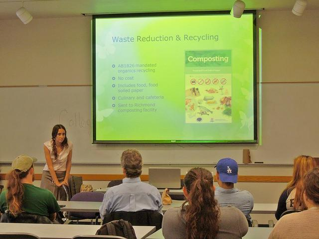 Anne+Baker+speaking+to+faculty+and+students+on+sustainability+at+a+Brownbag+workshop+on+Apr.+14.