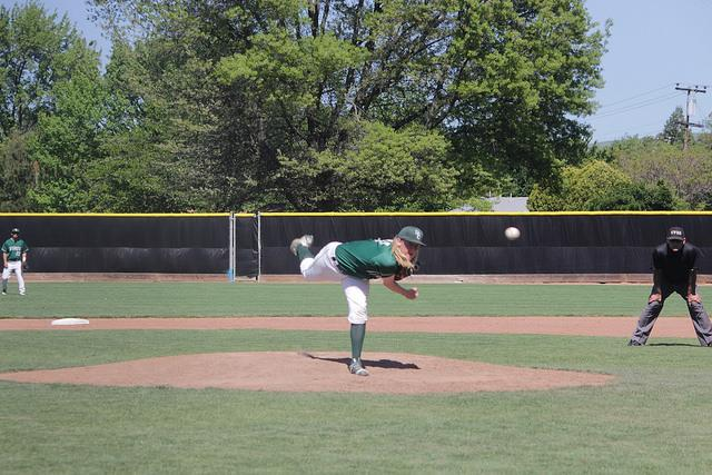 James 'Tanner' White pitches for the Diablo Valley College Vikings on Friday, April 15 against the Modesto Pirates.