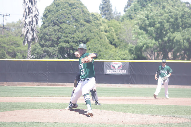 Starting pitcher Billy Babb (#28) makes his last start of the season in game against Sacramento City College on Thursday, April 28.