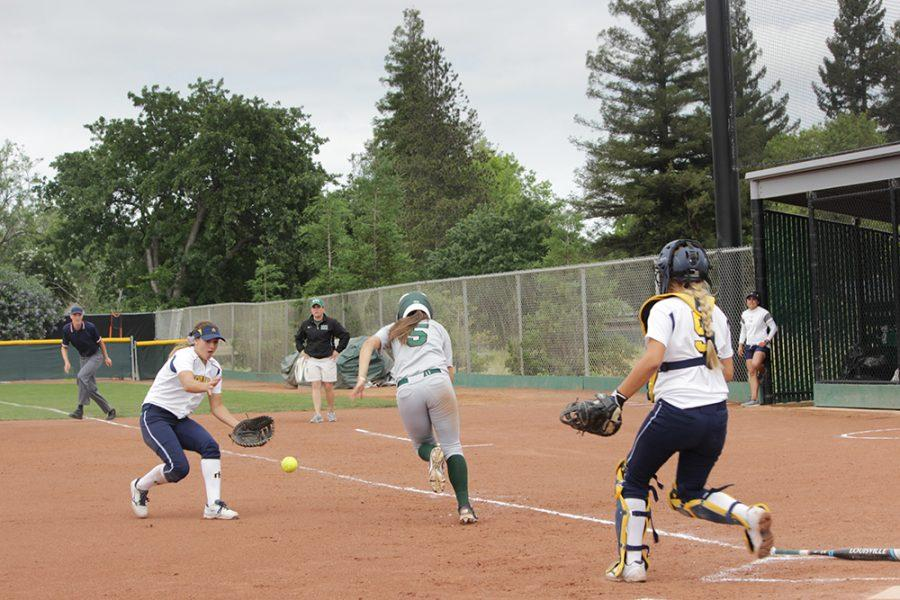 Natalie Larsen charges to first base in the playoff game against Merced on May 8.