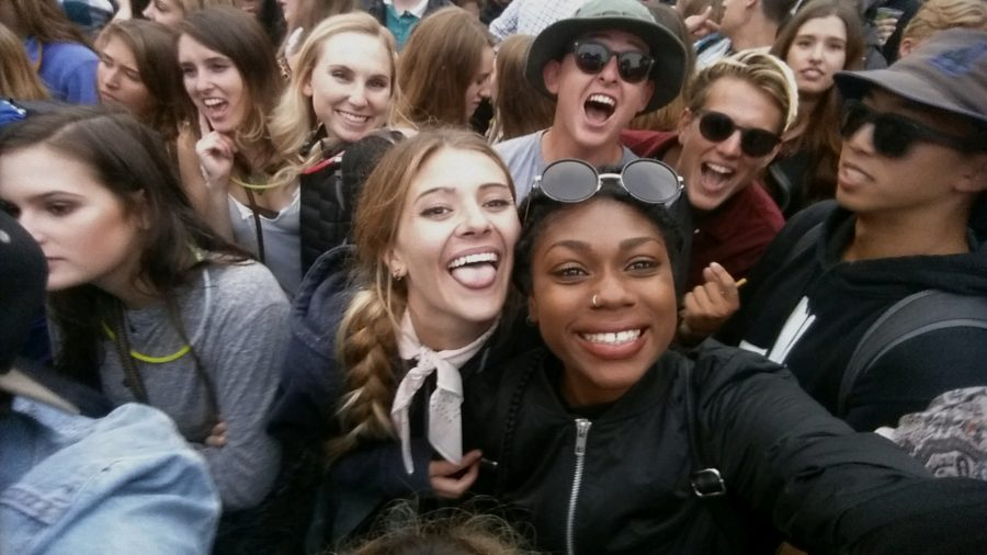 Selfie taken with temporary friends in crowd waiting for J Cole.