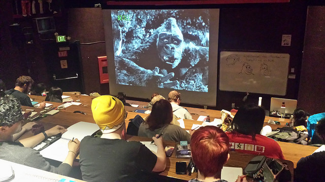 Diablo Valley College students drawing a still frame of King Kong