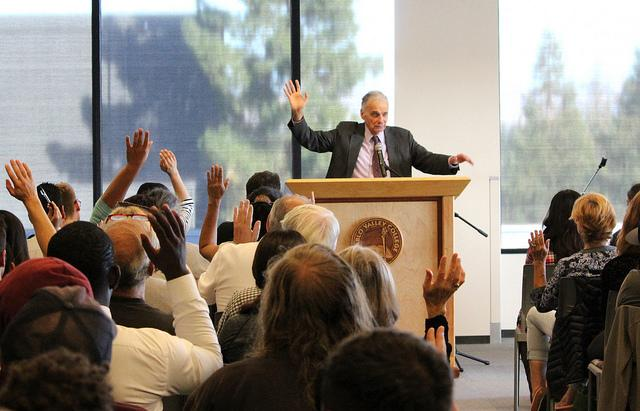 Ralph Nader encourages students to raise your voice.