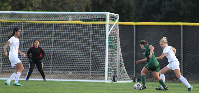 DVC's Ale Gonzalez playing against Modesto Junior College at home on Oct. 25.