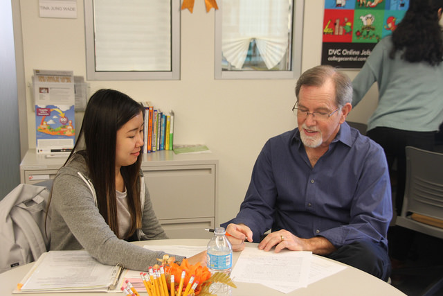 Rob Peters, DVC councilor goes over some academic planning with Putri Karania, 19, a computer science major. Services availableto students was one of the judges criteria.