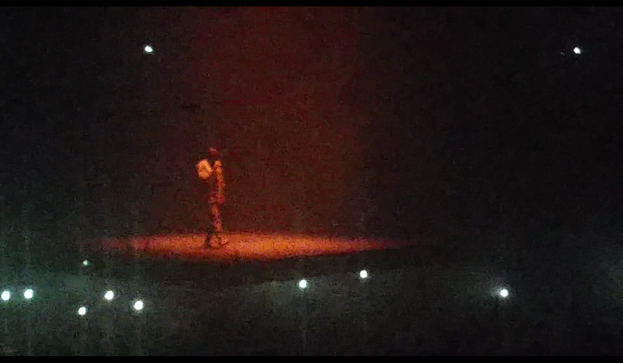 Kanye West, performs on a floating stage during,