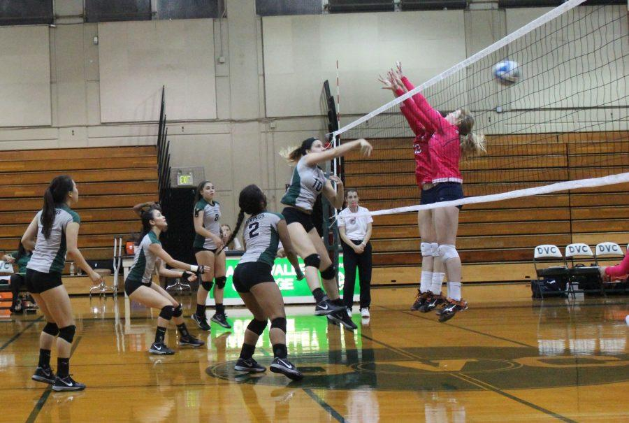 Middle Hitter, Ashley Dixon, scores against Cosumnes River College giving DVC a 9-2 lead in set 3 on Oct 21.