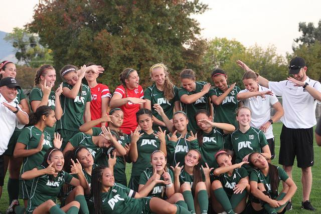 2016 women's soccer team take a silly photo after their 3-0 victory against American River College at home and celebrate the end of their regular season on Nov. 8.