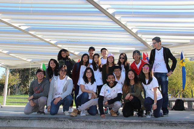 Members of the International Students Club pose for a picture after a morning of performances and demonstrations in honor of International Education Week, Thursday Nov. 17, 2016 in the DVC quad.