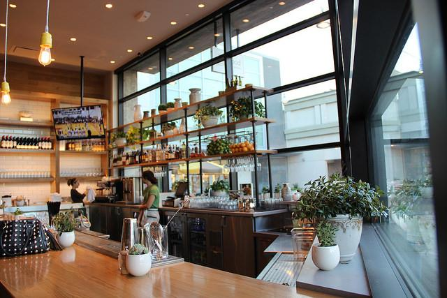 Chic and artistic bar at True Foods Kitchen in Walnut Creek, CA