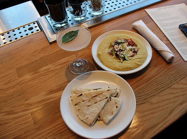 Thai Grapefruit Martini and Herb Hummus with Pita at True Foods Kitchen in Walnut Creek, CA.
