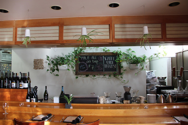 Casual bar area at Sanctuary Bistro in Oakland, CA.