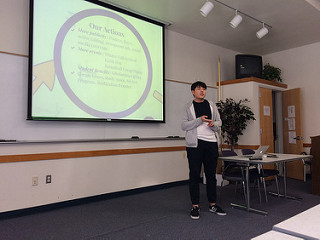 ASDVC President Chris Liu presenting the actions of the student government members. (ASDVC Info Session on January 30th, 2017)