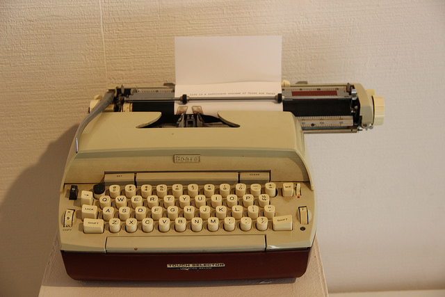 Electric typewriter placed in the end of exhibition.