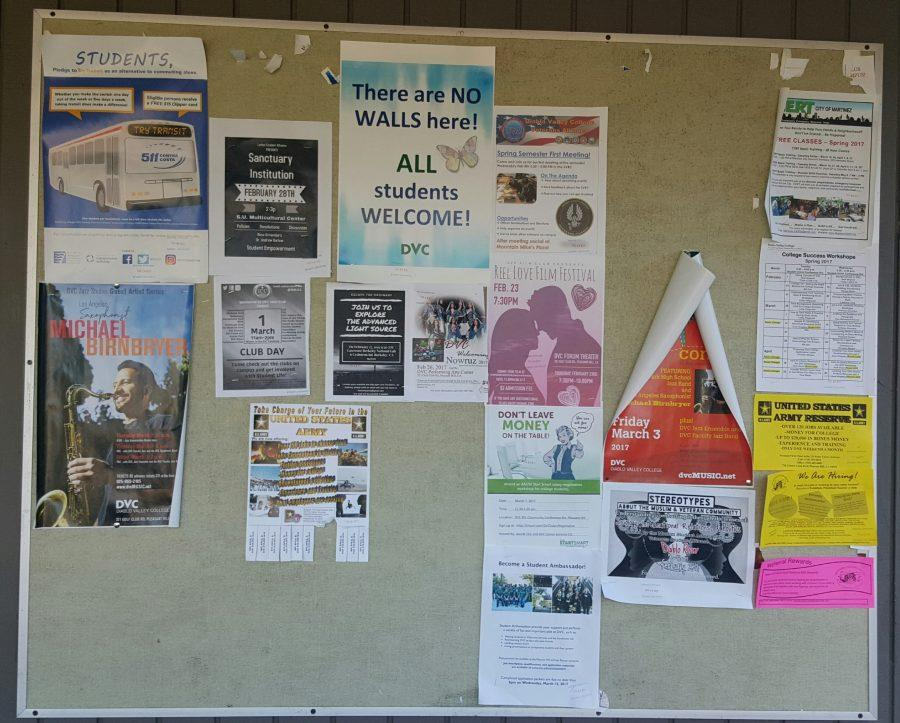 One of several bulletin boards on DVC's campus with no mention of the athletics.