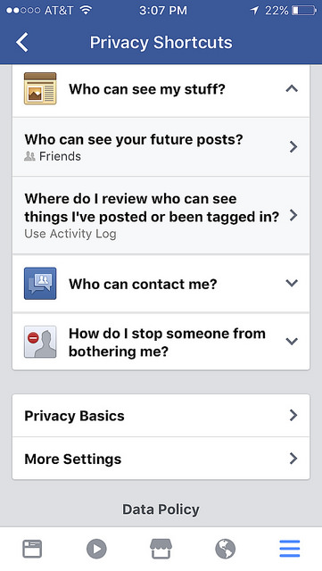 Facebook has privacy shortcuts that can help limit what users share.