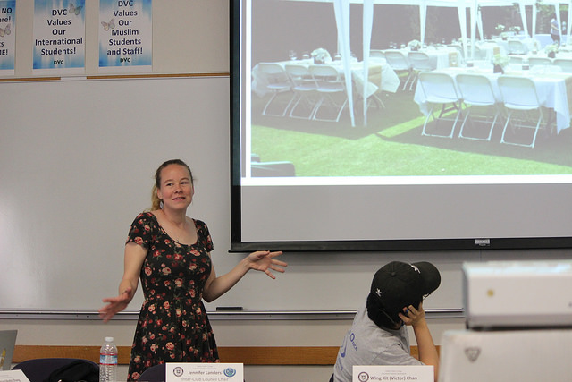 Jennifer Landers, the chair of ICC, presents at ASDVC board meeting on May 2 in Student Union.