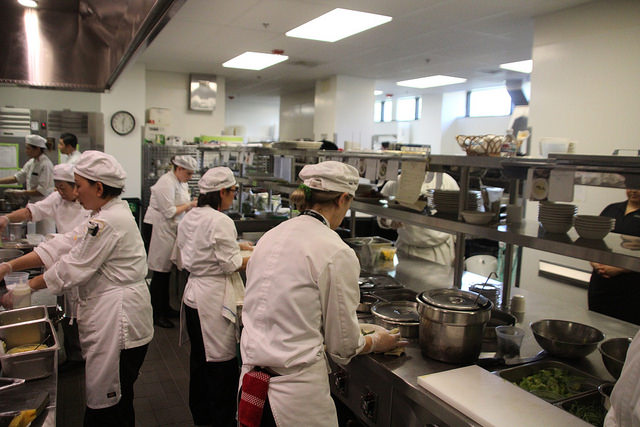 DVC Culinary Arts students cook lunch for the Norseman Grill on Wednesday, May 10. (Isaac Norman/DVC Inquirer)