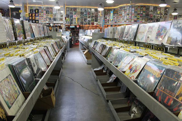 Rows of rock records at Amoeba Music in Berkeley, Calif.