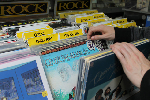 Customers flip through the selection of records at Amoeba Music in Berkeley, Calif.