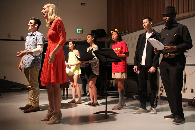Students in vocal jazz perform a free concert in M101 on Wednesday, May 17.