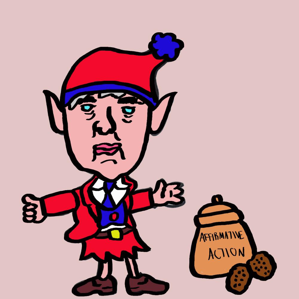 Jeff Sessions as the affirmative action Keebler elf. Original art by Omari Lewis 2017.