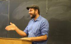 Adam Bessie teaching his graphic novels as literature course at DVC.