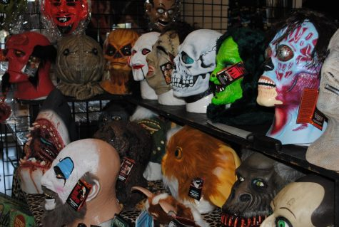 Premium Halloween masks at Sinister Creatured con from various films.