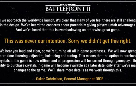 Public apology from EAStarWars on Twitter on 11-16-17