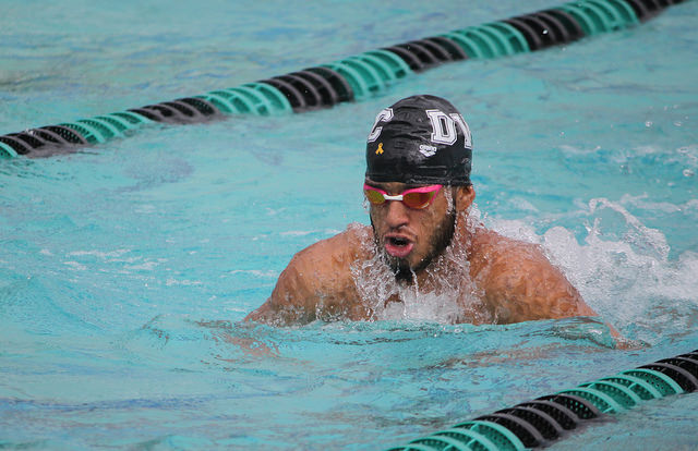 Abdallah Mahgoub practicing the breaststroke during warmups at the Diablo Valley College pool in Pleasant Hill, California on Feb. 22, 2018.