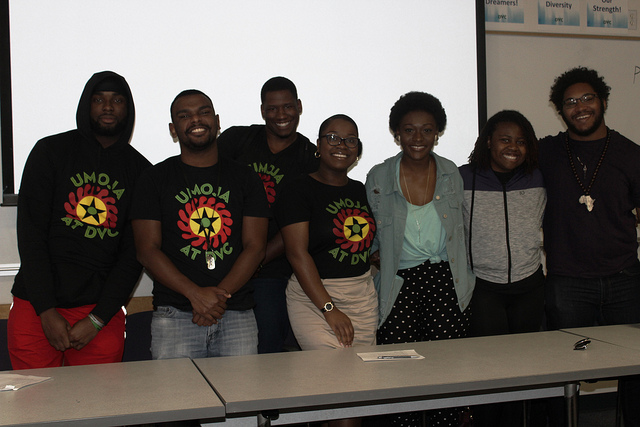 UMOJA students Chuck NNodim, Tiante Lee-Thomas, Terrence Mullins, Kendra Smith, Aicha Brou, Shanice Mitchell and Mykelle D'Tiole