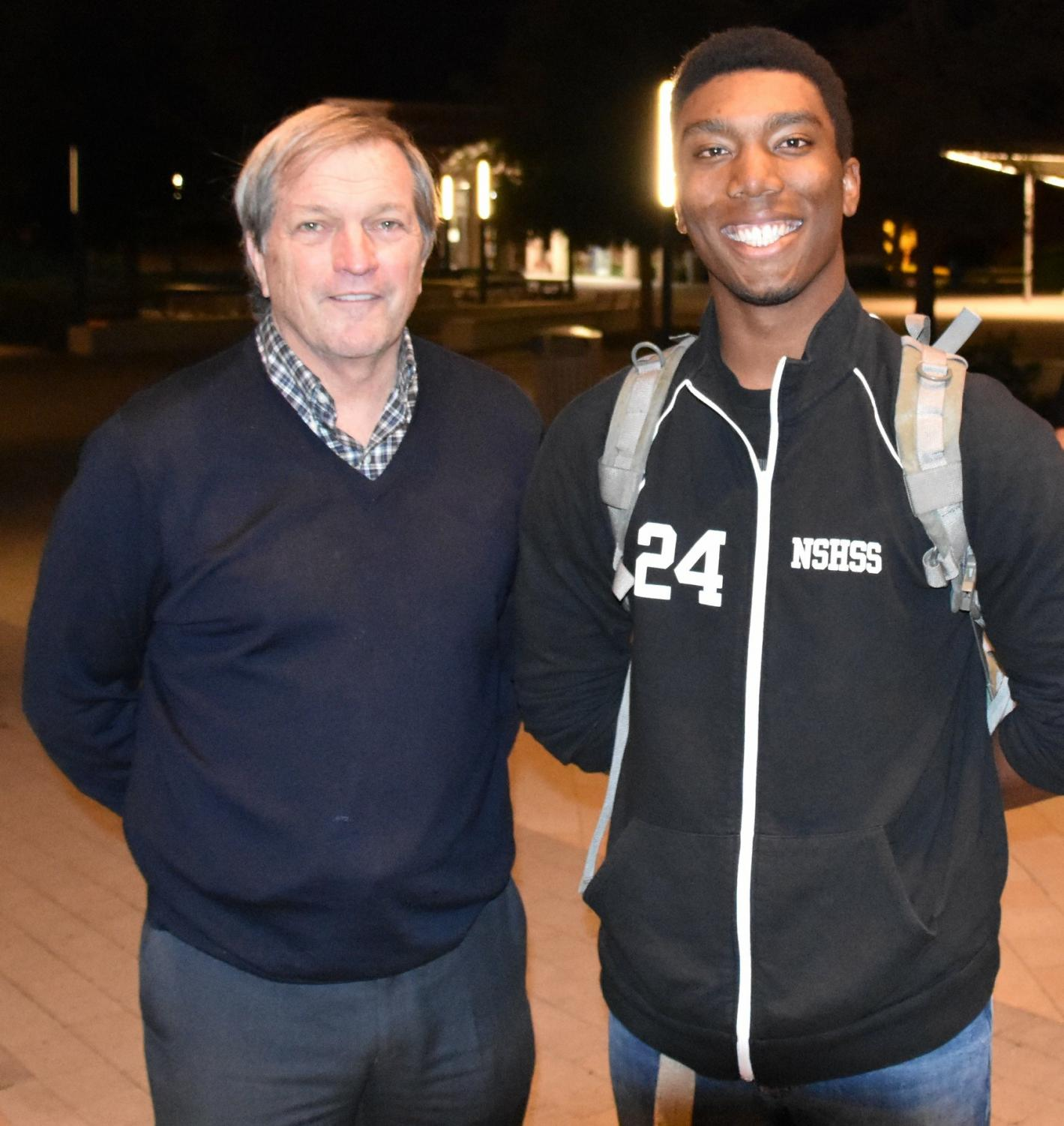 Photo of Rep. Mark DeSaulnier and student Johnnie Conner during town hall at Diablo Valley College held on Feb. 12.  Photo courtesy of Rep. Mark DeSaulnier.
